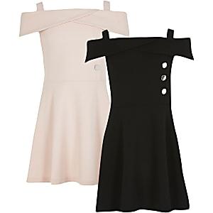 Bardot-Kleid in Rosa und Schwarz, 2er-Pack
