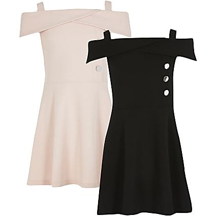 Girls pink and black bardot dress 2 pack