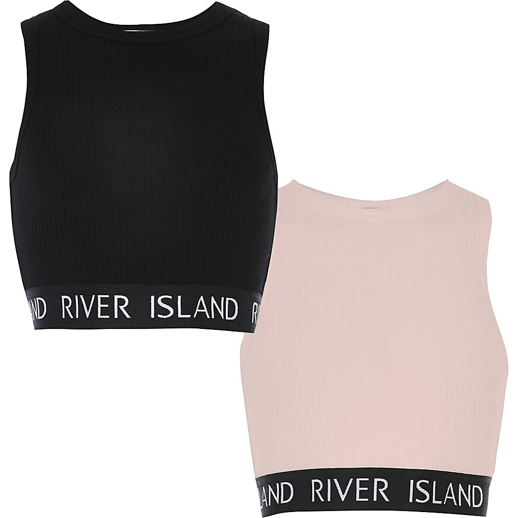Set van 2 roze en zwarte crop tops met RI-band voor meisjes