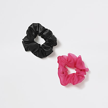 Girls pink and black scrunchie 2 pack