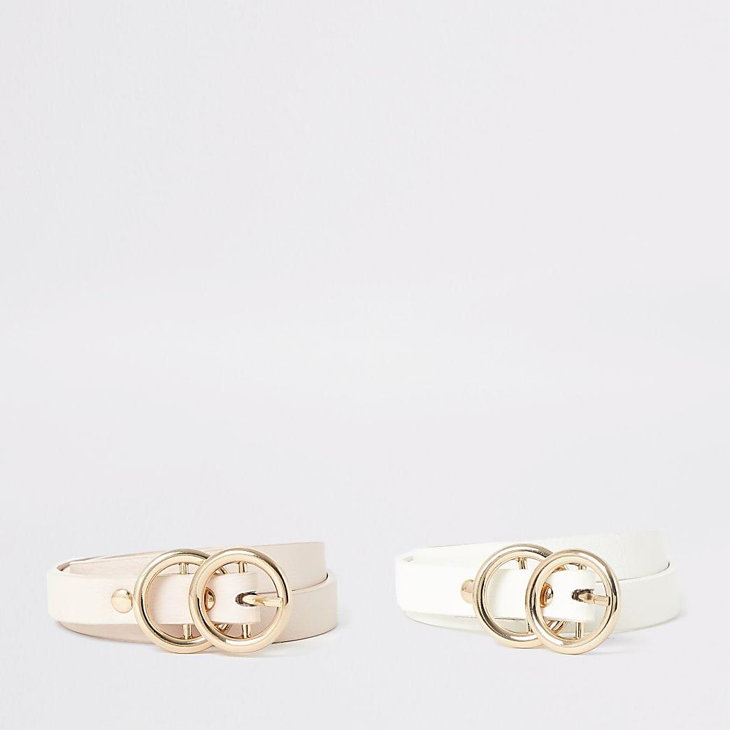 Roze en witte riemen met twee gespen voor meisjes