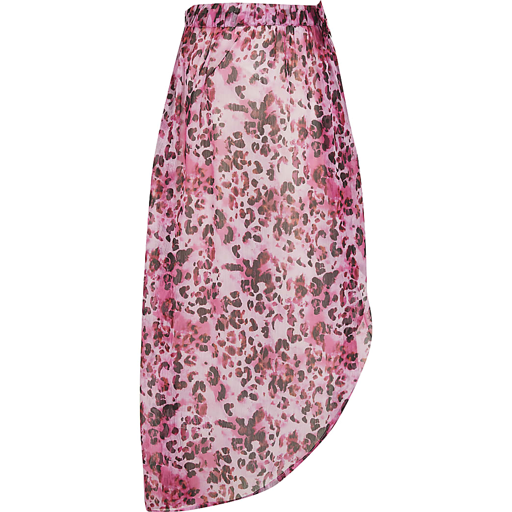Girls pink animal  print skirt