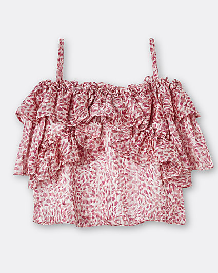 Girls pink animal print frill blouse top