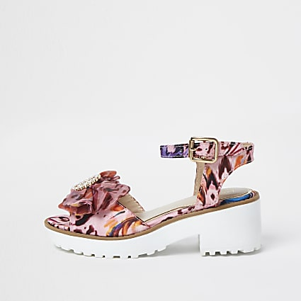 Girls pink animal print jewel detail sandals