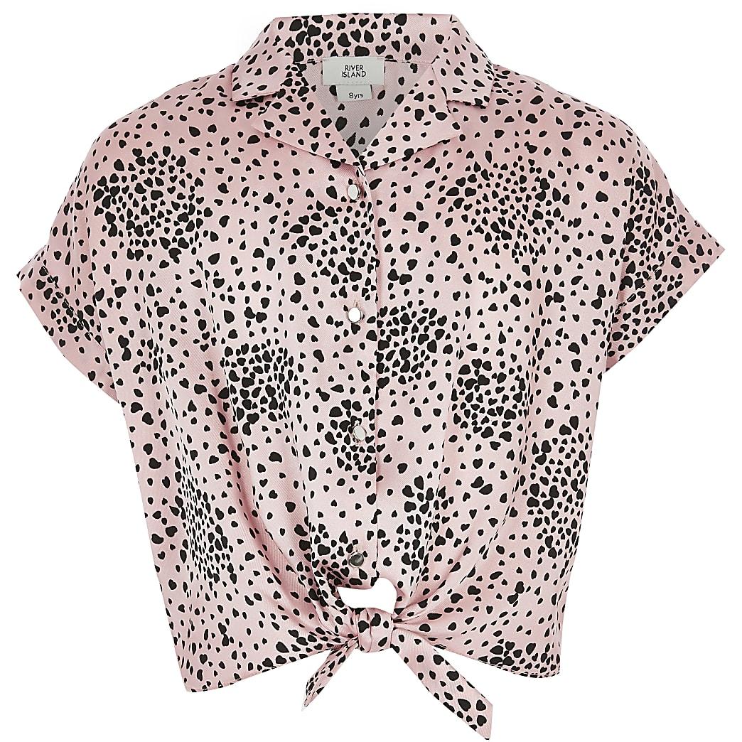 Girls pink animal print tie front shirt