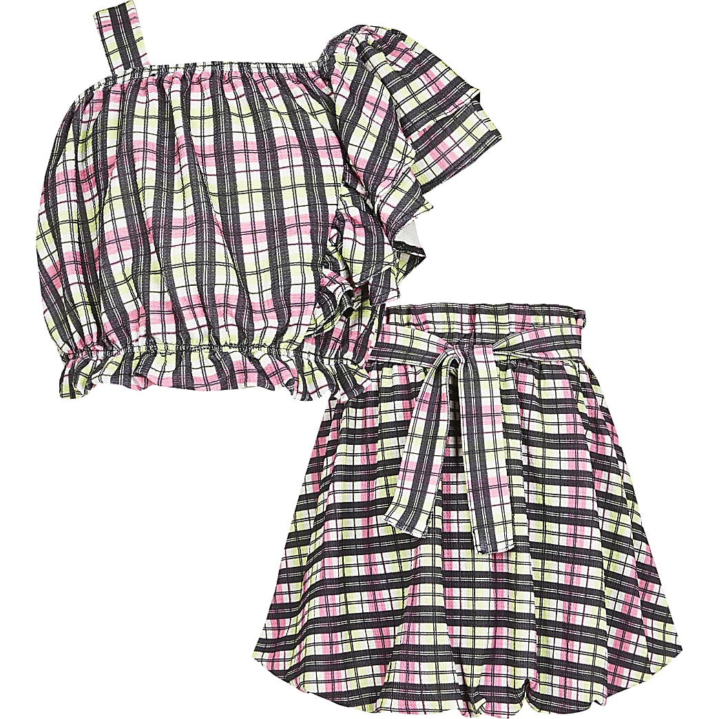 Girls pink asymmetric check frill outfit