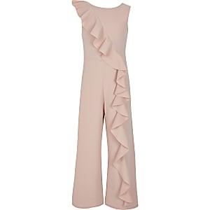 Roze jumpsuit met asymmetrische ruches voor meisjes