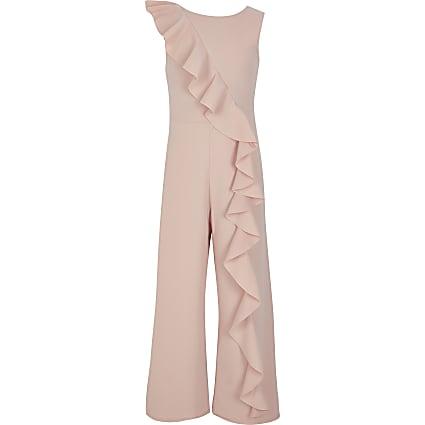 Girls pink asymmetric frill jumpsuit