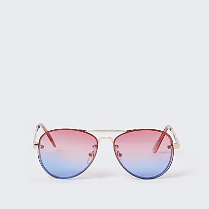 Girls pink aviator ombre sunglasses