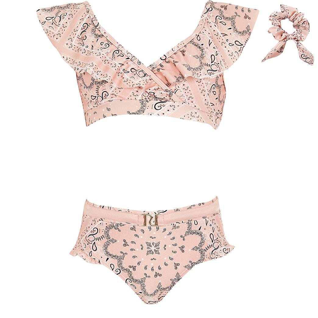 Girls pink bandana frill bikini set