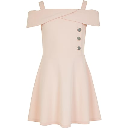 Girls pink bardot button skater dress