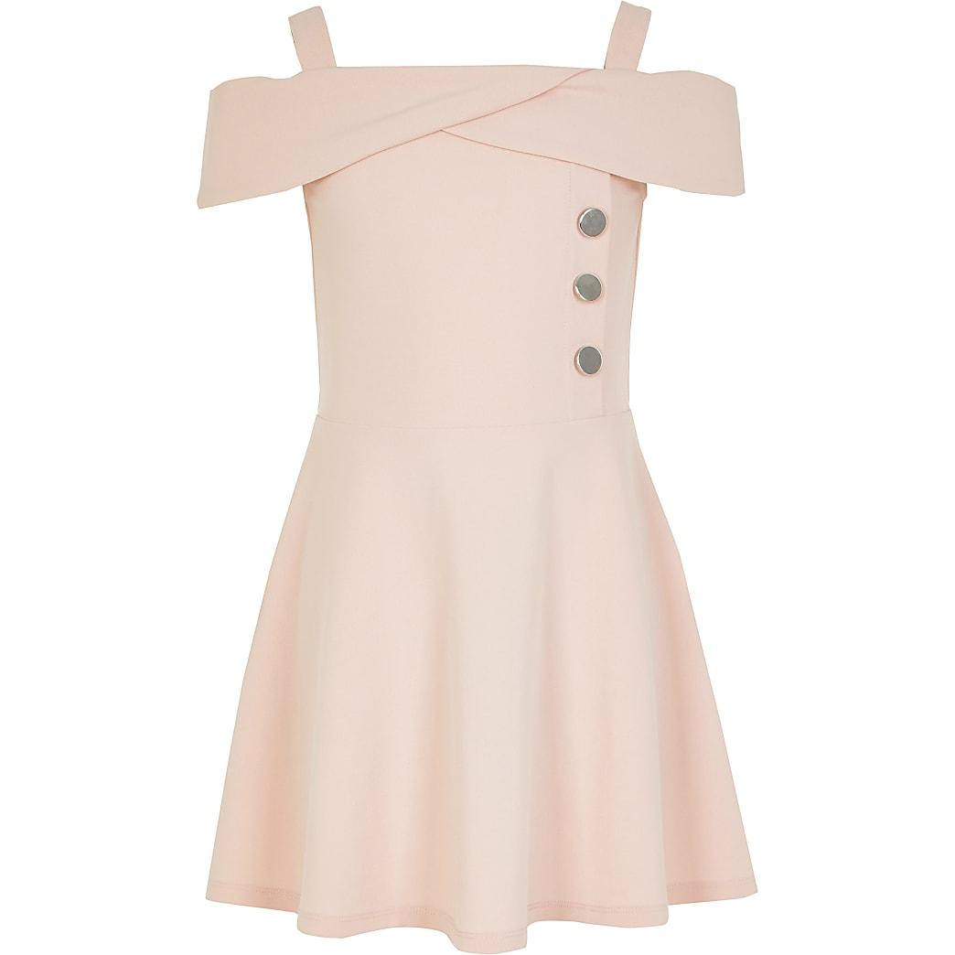 Girls pink bardot button skater dress