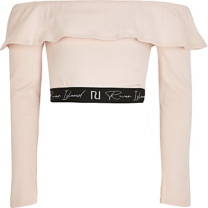 Girls pink bardot crop top