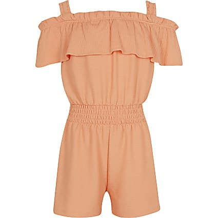 Girls pink bardot frill playsuit