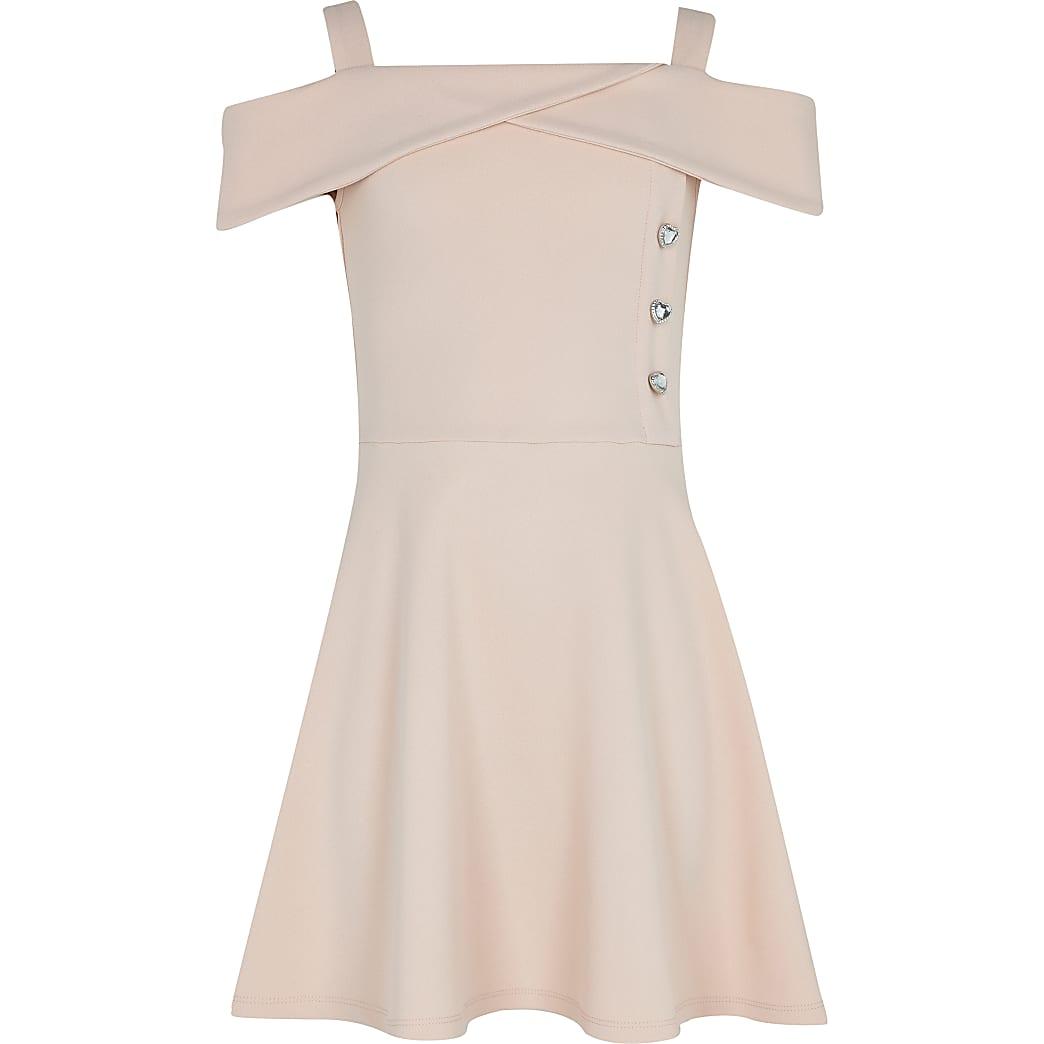 Girls pink bardot skater dress