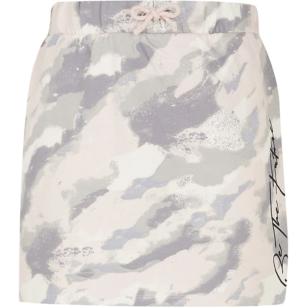 Girls pink 'Be the future' camo print skirt