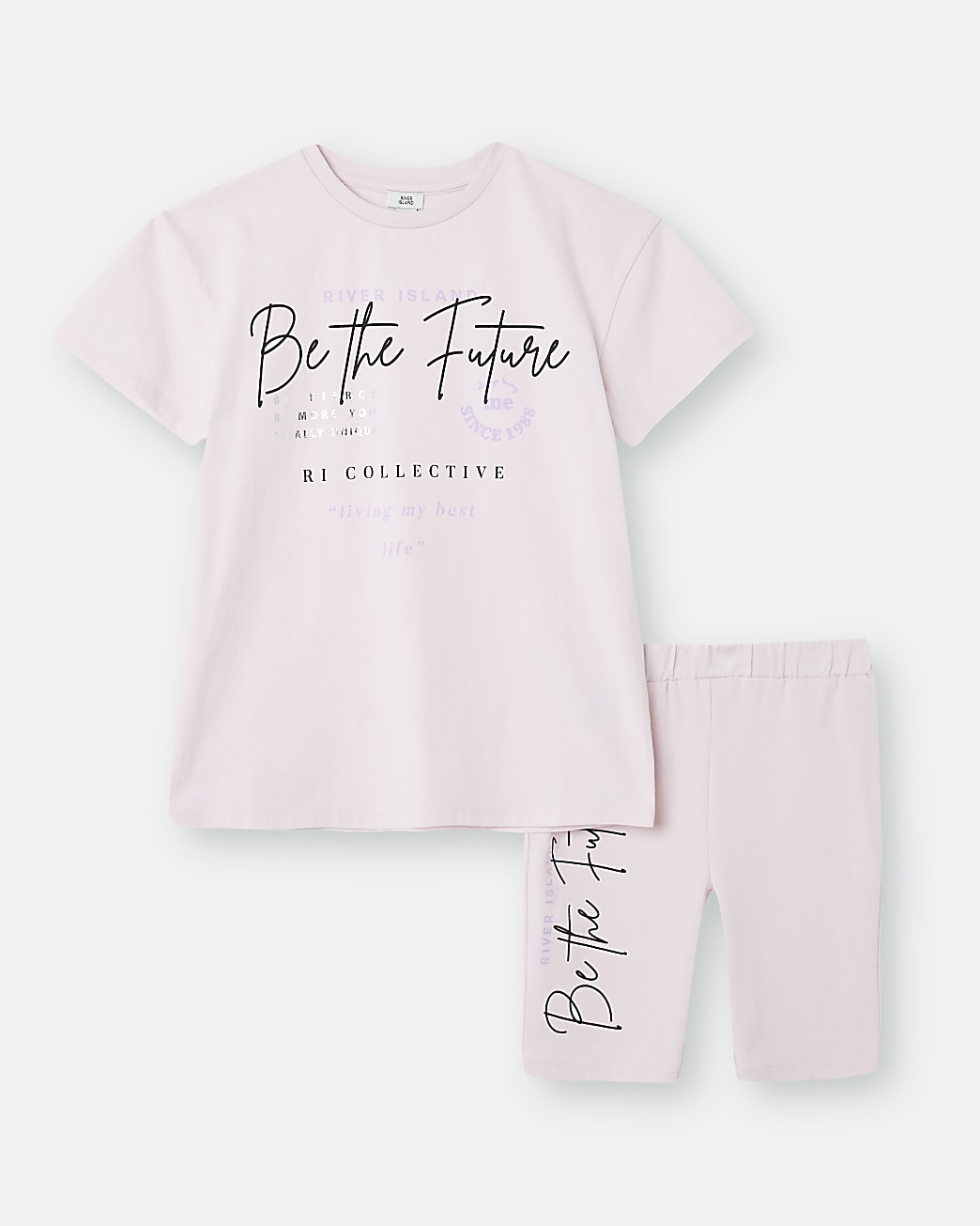 Girls pink 'Be The Future' print t-shirt set