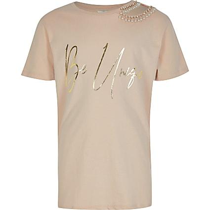 Girls pink 'Be Unique' cut out t-shirt