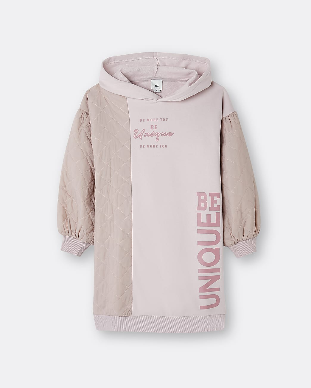 Girls pink 'be Unique' quilted jumper dress