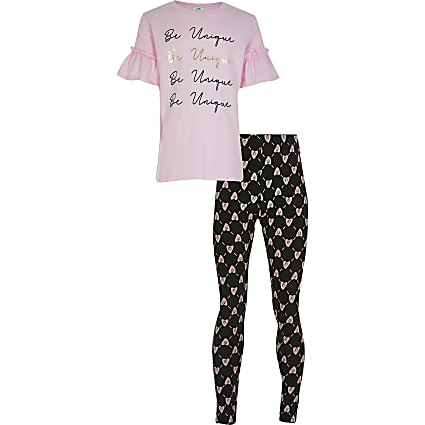 Girls pink 'Be unique' t-shirt outfit