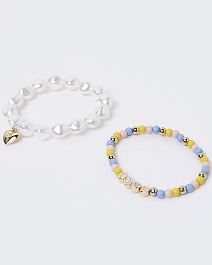 Girls pink beaded 'Love' bracelet