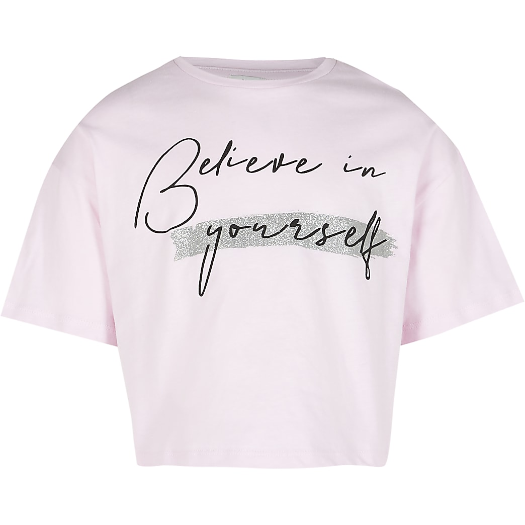 Girls pink 'Believe in yourself' t-shirt