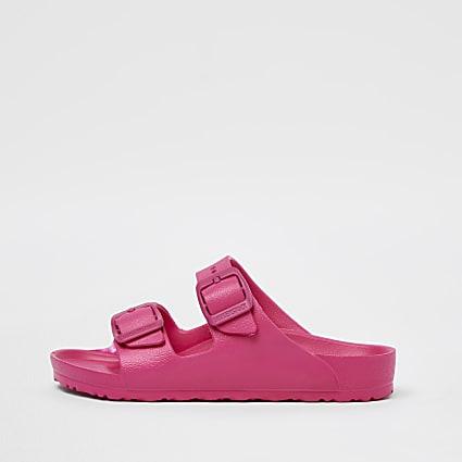 Girls pink Birkenstock double strap sandal