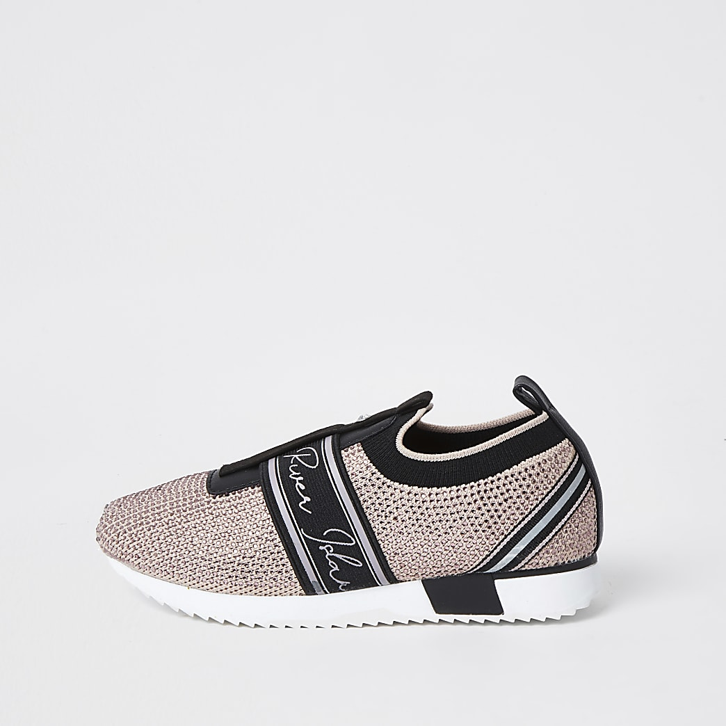 Girls pink bling runner trainers