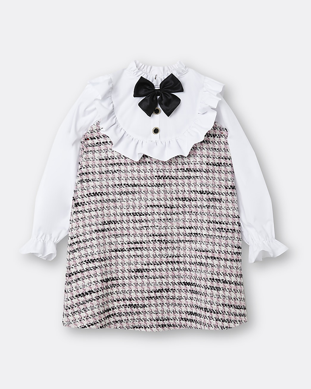 Girls pink boucle collar bow dress