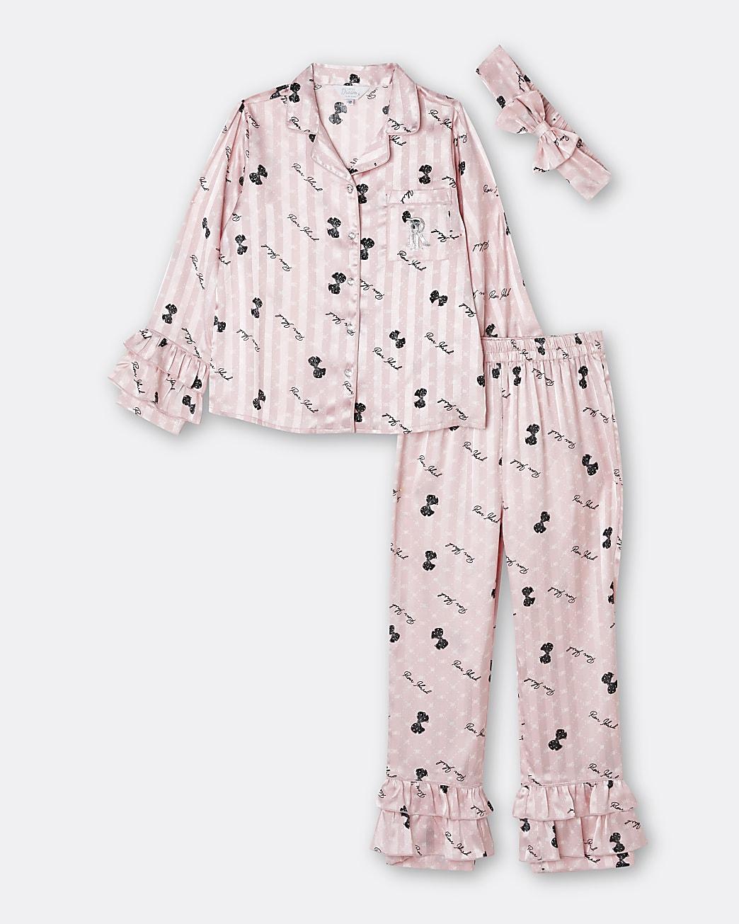 Girls pink bow frill satin pyjama set