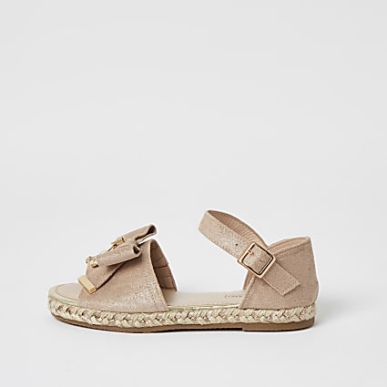 Girls pink bow front espadrille sandals