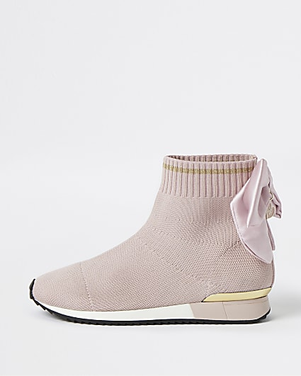 Girls pink bow knit high top trainers