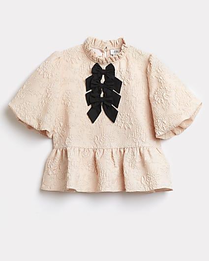 Girls pink bow peplum blouse top