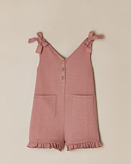 Girls pink bow shoulder playsuit