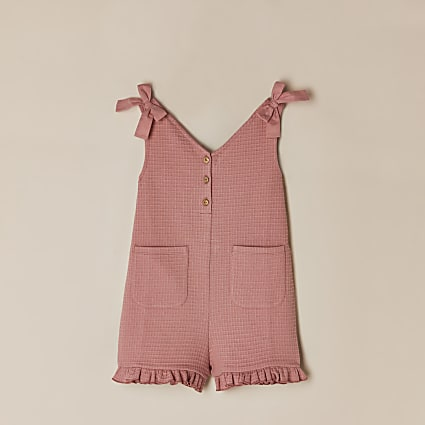 Girls pink bow shoulder playsuit