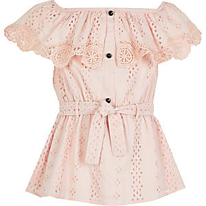 Girls pink broderie bardot tie belted top