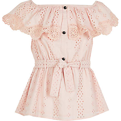 Girls pink broderie bardot tie belted top