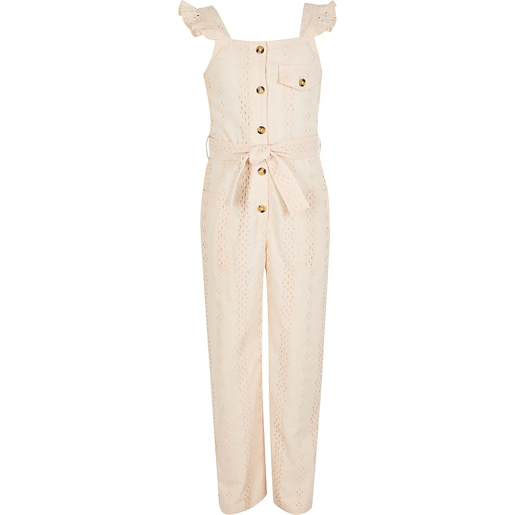 Girls pink broderie button front jumpsuit
