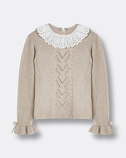Girls pink broderie collar jumper