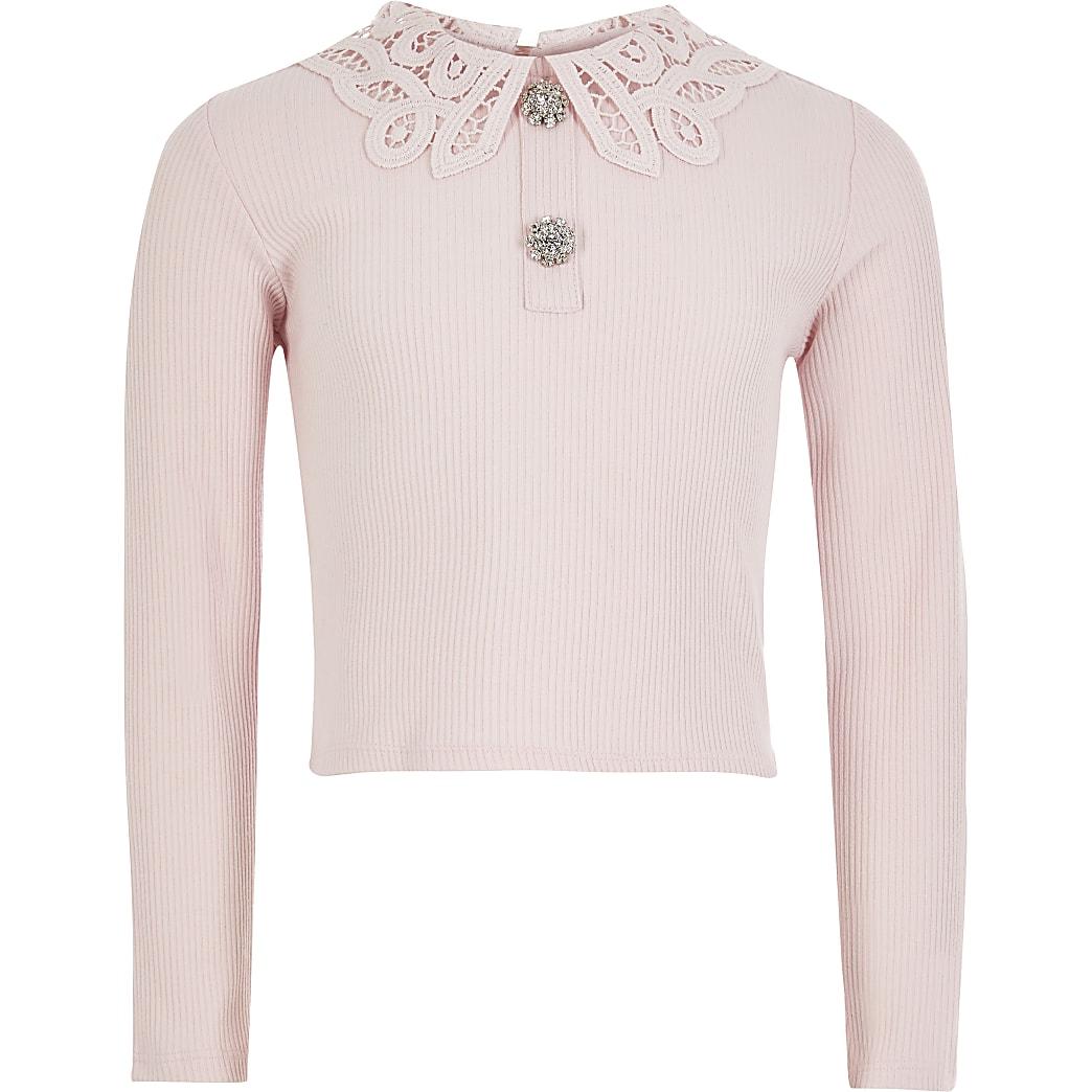 Roze geribbelde top met broderie kraag voor meisjes