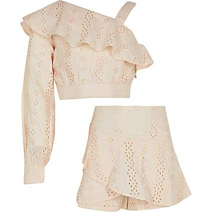 Girls pink broderie one shoulder top outfit