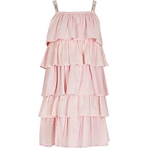 Robeà volants en broderie anglaise rose pour fille