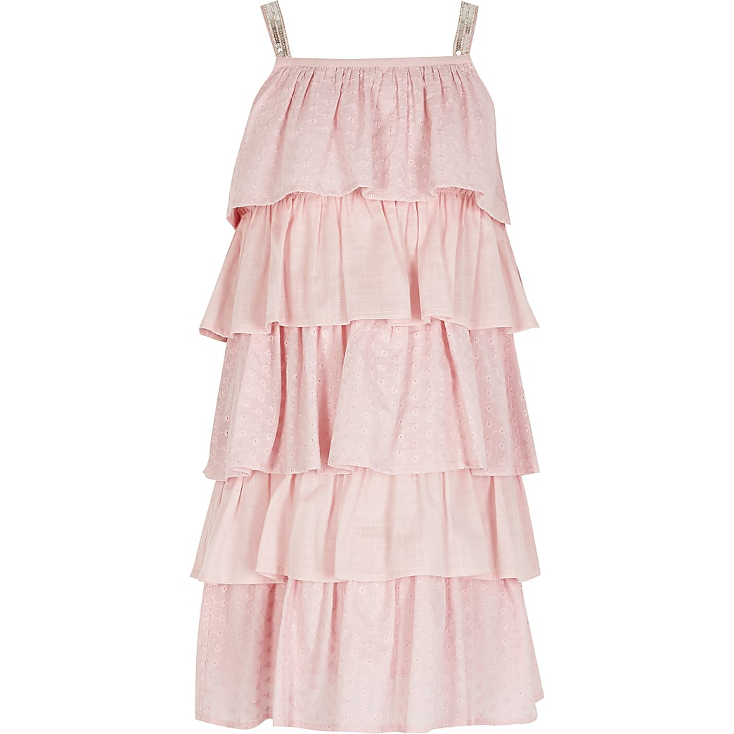 Girls pink broderie rara dress