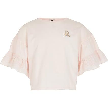 Girls pink broderie sleeve t-shirt