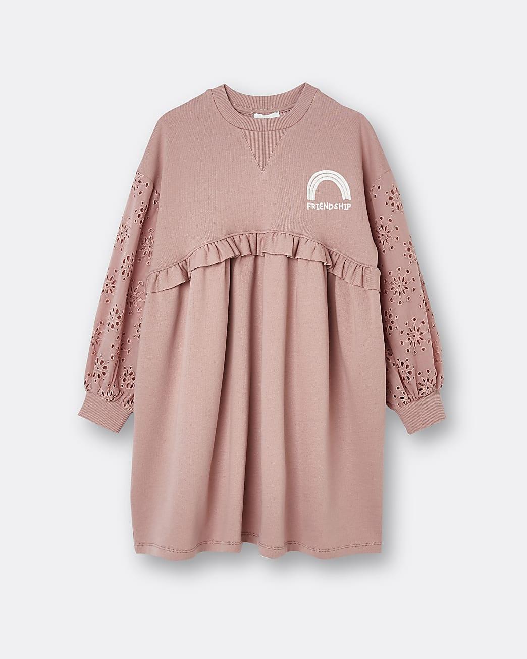 Girls pink broderie sweater dress