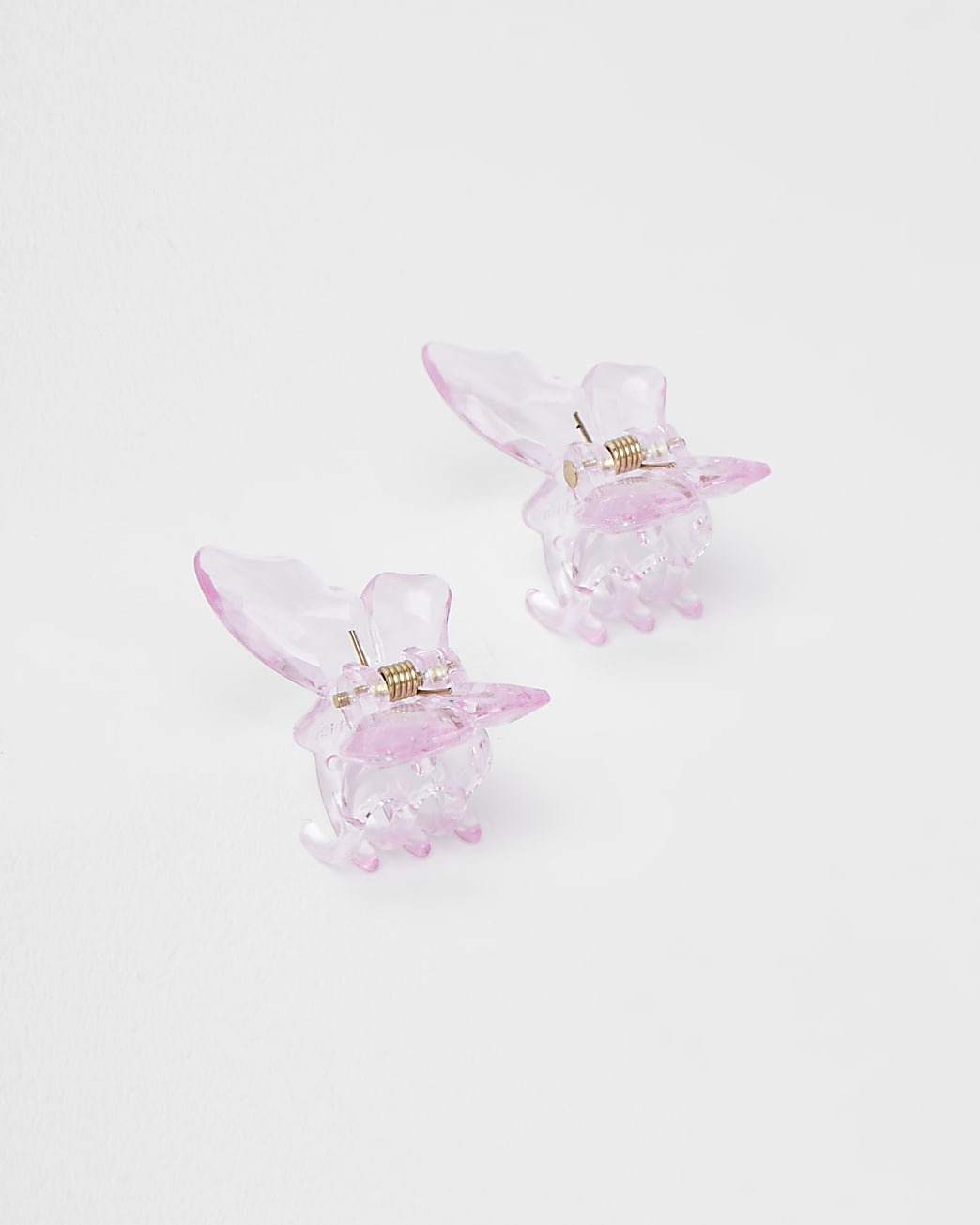 Girls pink butterfly hair clips