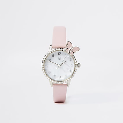 Girls pink butterfly watch