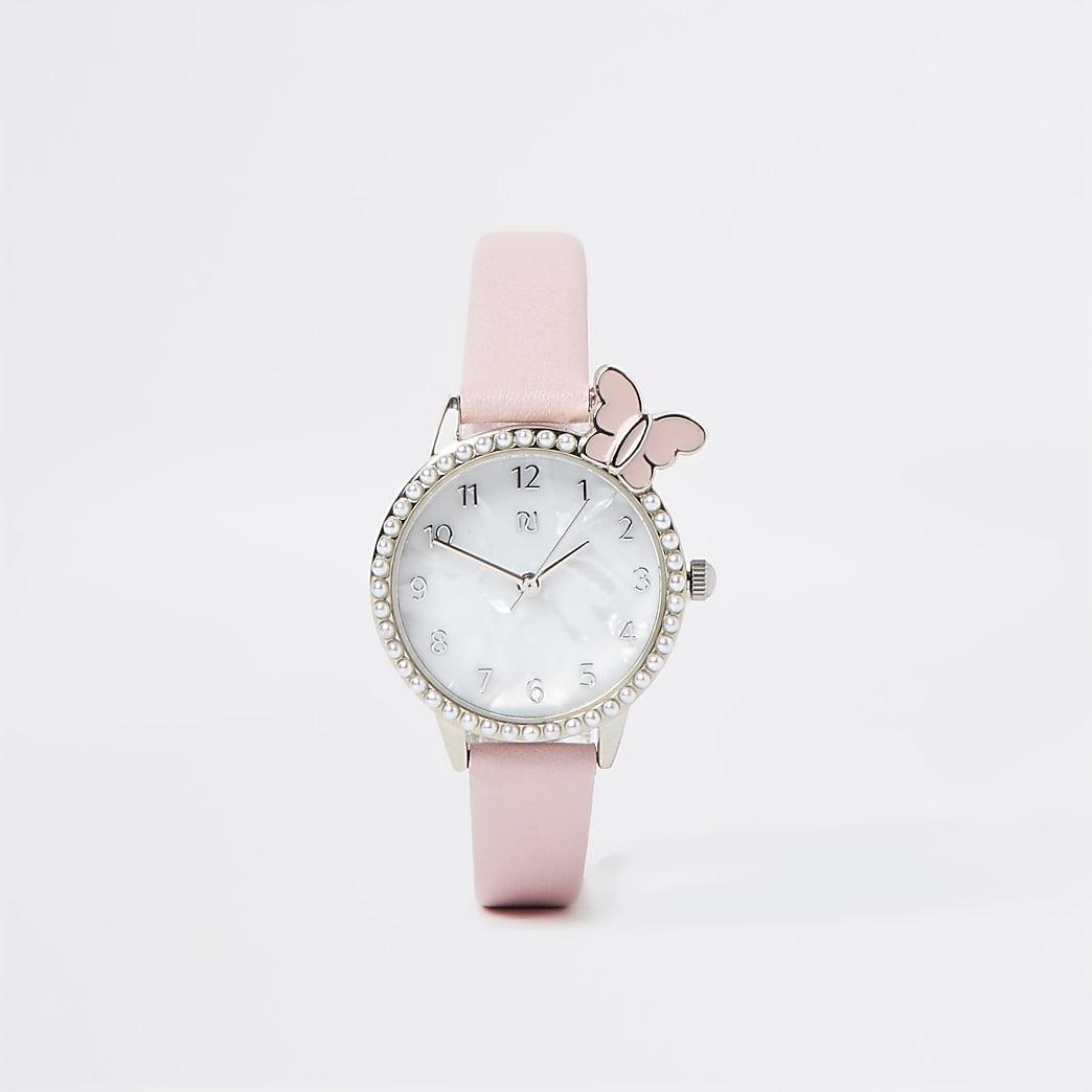 Girls pink butterfly watch