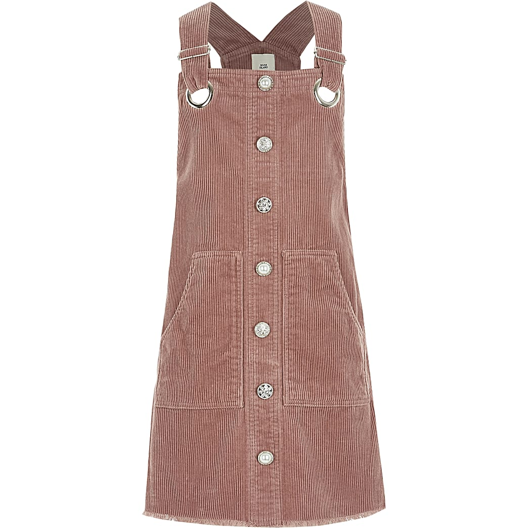 Girls pink button corduroy pinafore dress
