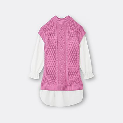 Girls pink cable knit dress